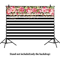 Allenjoy 7x5ft photography backdrops Black and white stripe watercolor pink rose flower Golden Glitter Circles banner Birthday party wedding bridal shower photo studio booth background photocall
