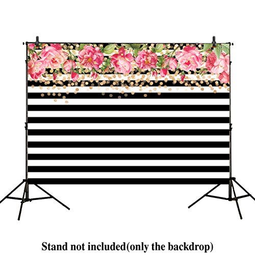 Allenjoy 7x5ft photography backdrops Black and white stripe watercolor pink rose flower Golden Glitter Circles banner Birthday party wedding bridal shower photo studio booth background photocall by Allenjoy