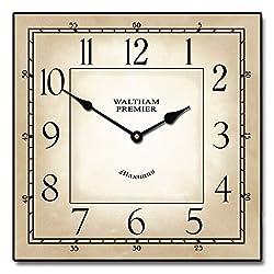 Waltham Parchment Square Clock, 12-48, Whisper Quiet, non-ticking