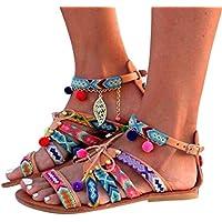 Inverlee Women Bohemia Sandals Gladiator Leather Sandals Flats Shoes Pom-Pom Sandals