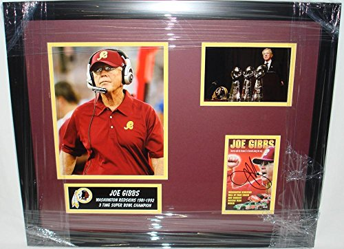 Autographed Art (Washington Redskins) Monk Photo - Joe Gibbs Series Collage Custom Framed - Autographed NFL Photos Art Monk Washington Redskins