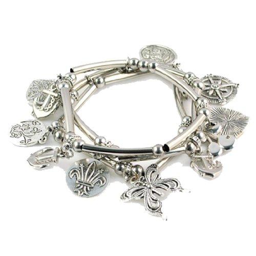 Antique Butterfly Bracelet - Antique Classic Design Alloy Butterfly Pendant Bracelets, Br-1294