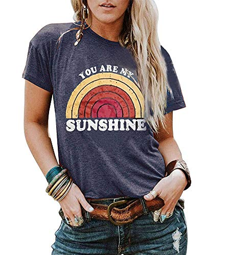 MOMOER You are My Sunshine Shirt Women Vintage Rainbow Print Graphic Tees Summer Short Sleeve T Shirt