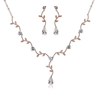 650e1f5bf Epinki Silver Plated Vine Leaf Drop Crystal Rose Gold Earring Necklace  Wedding Jewelry for Women