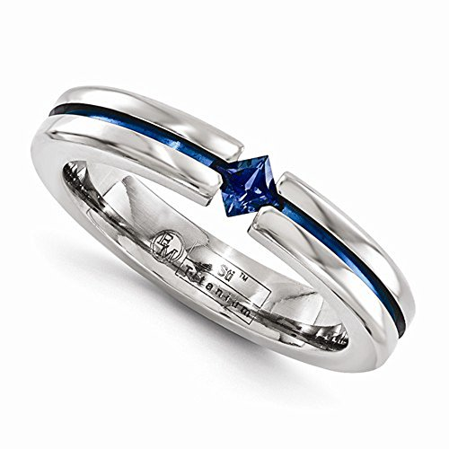 Edward Mirell Titanium Tension Set Blue Sapphire and Blue Anodized 4mm Wedding Band - Size 6.5 by Edward Mirell