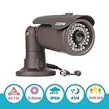 Cheap EWETON 1/3″ CMOS 1200TVL CCTV Home Surveillance Weatherproof 36 Led 3.6mm Lens Wide Angle Bullet Security Camera with IR Cut-100ft IR Night Vision Distance, Aluminum Alloy Housing