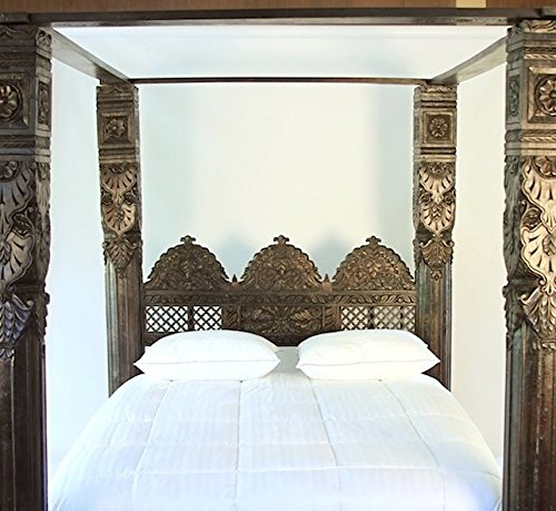 Four Poster Canopy Bed with a Triple Arch Headboard, hand carved from solid Neem Wood