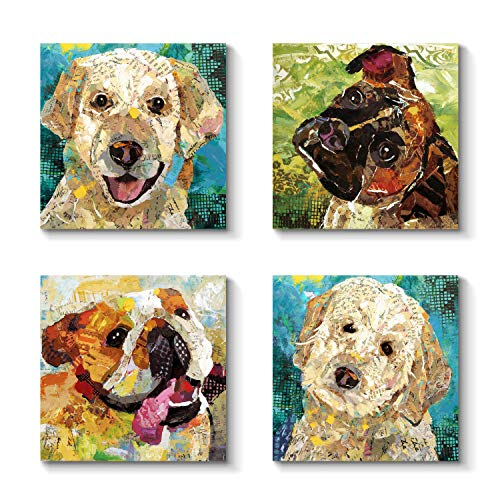 (Abstract Animals Artwork Dogs Picture - Cute Funny Graphic Art for Wall Decor)