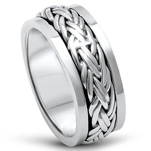 Men's Sterling Silver Fashion Celtic Spinner Band Sizes 11 ()