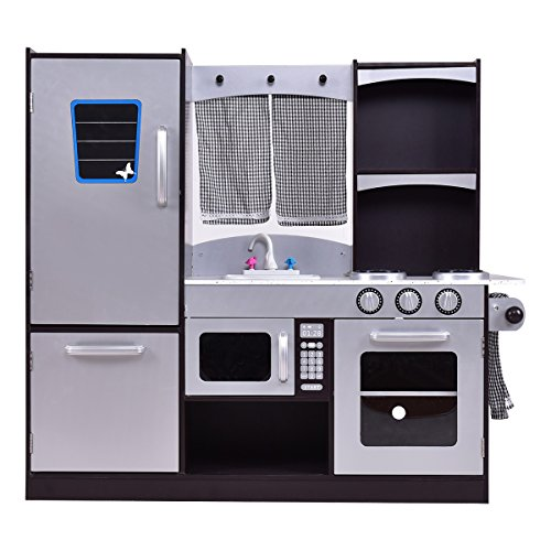 Costzon Kitchen Playset, Kids Wood Refrigerator, Little Chef Pretend Cooking Play (Kids Kitchen Refrigerator)