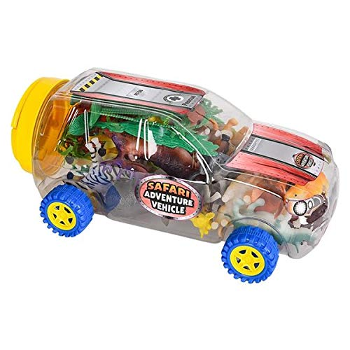 JoyABit Toy Safari Animal Play Set with Car | Realistic and Educational Imagination Sparker | Great Birthday Present for Kids Boys or Girls | Travel Jungle Game