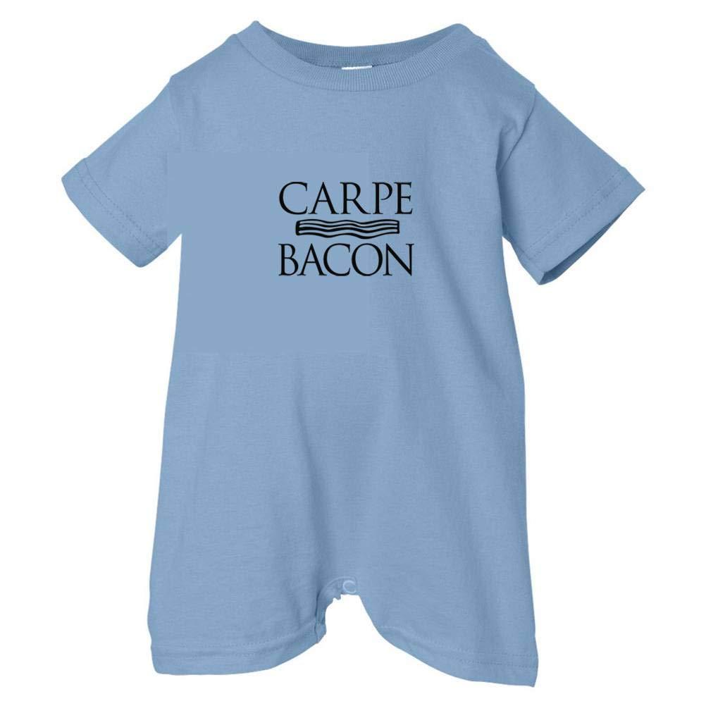 Tasty Threads Unisex Baby Carpe Bacon T-Shirt Romper Black Print Lt. Blue, 18 Months