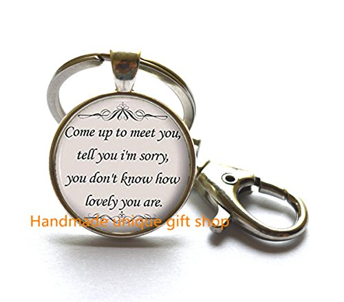Dainty Keychain, Simple Keychain,Song Lyrics Quote - Romantic Music Keychain - Silver Cute Jewelry Gift for ()