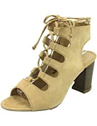 STYLUXE Womens Lovell Lace Up Gladiator Stacked Chunky Heel Bootie