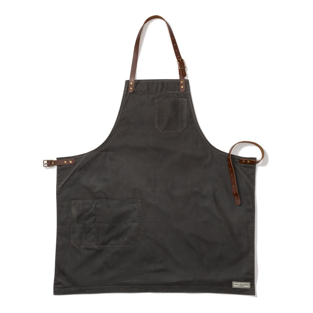 BOND ST. BIB APRON, GREY WAXED CANVAS