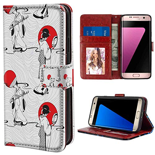 Samsung Galaxy S7 Wallet Case, Asian Japanese Geisha Girl with Traditional Kimono Folk Culture Style Vermilion Charcoal Grey White PU Leather Folio Case with Card Holder and ID Coin Slot