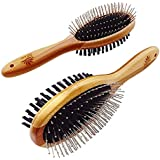 AtEase Accents Natural Bamboo Eco Friendly Pet Grooming Dog and Cat Dual Sided Pin and Bristle Pet Deshedding Hair Brush by