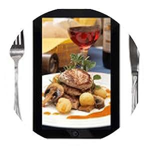alfombrilla de ratón Tableta con la foto de la comida, tenedor y un cuchillo, conceptual - ronda - 20cm