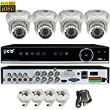 CIB True Full HD 8CH 1080P 1920TVL Recording and Display DVR system with 2TB HDD and 4x2.1Megapixel Vandal Dome Cameras Network Remote Viewing -- H80P08K1T03W-4KIT-W