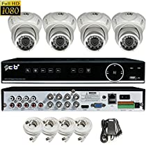CIB True Full HD 8CH 1080P 1920TVL Recording and Display DVR system with 1TB HDD and 4x2.1Megapixel Vandal Dome Cameras Network Remote Viewing -- H80P08K1T03W-4KIT-W