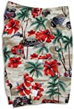 Men's Cargo Shorts - Hibiscus Drag Racers Elastic Waistband Inside Drawcord Flap Pocket Cotton Shorts in Khaki - S