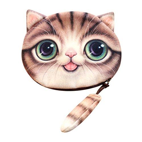 Londony Fashion Cat Head Wallet, Cute 3D Cat Face Tail Zipper Closure Bag Coin Purse Case