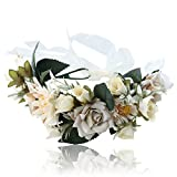 Flower Crown Headband Floral headpiece - New Bohemian Ribbon Adjust Flower Hairbands Party Wedding Hair Wreaths (Crean white+white)