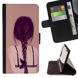 - Cartoon Girl Cute - - Monedero pared Design Premium cuero del tir?n magn?tico delgado del caso de la cubierta pata de ca FOR HTC DESIRE 816 Funny House