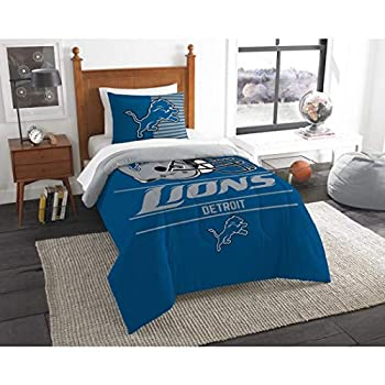 Image of 2 Piece NFL Lions Comforter Twin Set, Blue Grey Multi Football Themed Bedding Sports Patterned, Team Logo Fan Merchandise Athletic Team Spirit Fan, Polyester, For Unisex Home and Kitchen