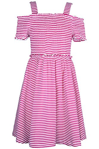 Price comparison product image Truly Me Stripe Smocked Top Baby Doll Dress 7-16 (Pink - 8)