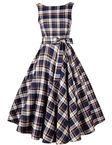 VKStar Womens 1950's Hepburn Vintage Housewife Swing Rockabilly Plaid Skater Evening Party...
