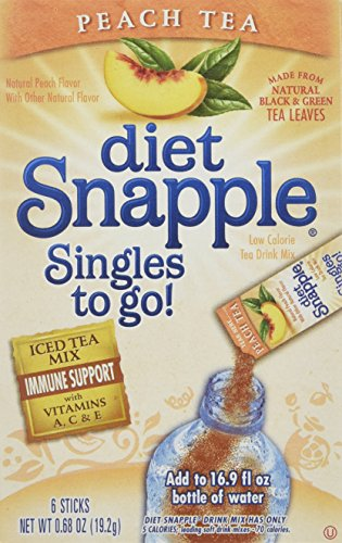 (Diet Snapple Singles to Go Peach Tea (6 Sticks in each box) SIX BOXES)