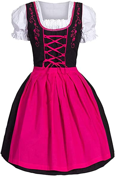 Girl Women Costume Drindl Bavarian Maid Short Beer Oktoberfest Tavern Mini Dress
