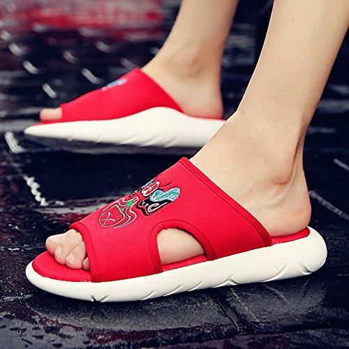 HUO Hausschuhe Männer Mode Erhöhen Sandalen Im Freien Starke Unterseite Rutschfeste TPU Sohle Hausschuhe Strand Schuhe Sommer Koreanische Version Schwarz Rot Kühle atmungsaktiv ( Farbe : 1 , größe : E 3