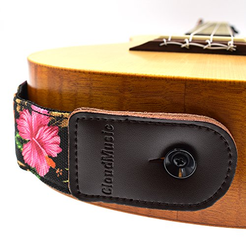 CLOUDMUSIC Ukulele Strap Hawaiian Hibiscus Roses Floral Strap For Soprano Concert Tenor Baritone (Hibiscus In Black) by CLOUDMUSIC (Image #5)