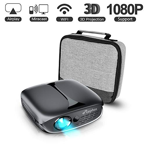 3D Mini Projector, ELEPHAS 2600 Lumen Wi-Fi Portable Home Theater Projector Compatible with Android Smartphone, Supports 1080P/ HDMI/USB Video Projector