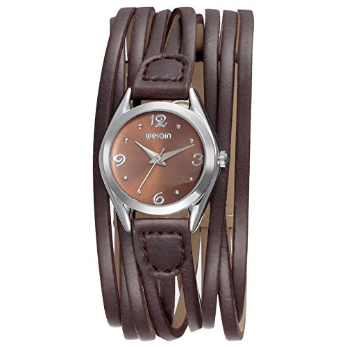 Ladies Wrist Watch, WeiQin Women Waterproof Watch, Vintage Knitting Leather Analog Watch – Brown, Black