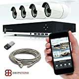 Dripstone 3 Mega Pixels (3MP) 8 Channel PoE NVR Network Video Recorder with 4 x 3MP Indoor/Outdoor Night Vision Onvif Security IP cameras Kit Easy Setup with Remote Viewing via Smartphone and Tablet plus a FREE 32GB flash drive for recording backup
