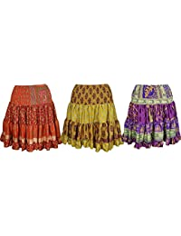 Wholesale Lot 3 Womens Flare Gypsy Skirt Vintage Recycled Silk Sari Effortless Color Knee Length Skirts