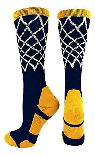 Basketball Net Crew Socks (Navy/Gold, Medium)