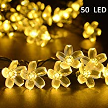 Vmanoo Solar Outdoor Christmas String Lights 21ft 50 LED Fairy Flower Blossom Decorative Light for Indoor Garden Patio Party Xmas Tree Decorations (Warm White)