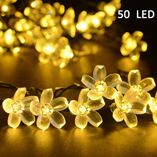 Easy to store outdoor christmas decorations amazon vmanoo solar outdoor christmas string lights 21ft 50 led fairy flower blossom decorative light for indoor garden patio party xmas tree decorations warm mozeypictures Gallery