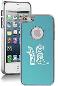 Apple iPhone 4 4s Aluminum Plated Chrome Hard Back Case Cover Cowboy Cowgirl Boots (Light Blue)