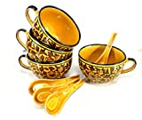 KLEO - Ceramic Porcelain Jumbo Soup Bowls Rice Bowls, Cereal Bowl, Dessert Bowl, Serving Bowls, Fruit Bowls - Warli Tribal Art Inspired in Yellow/ Brown - Set of 4 - 4 Bowls with 4 Soup Spoons