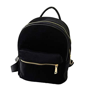 Bolso, Manadlian Mochila de mujer oro terciopelo pequeña mochila mochila escuela libro (Tamaño: 8cmX4cmX24cm, Negro): Amazon.es: Hogar
