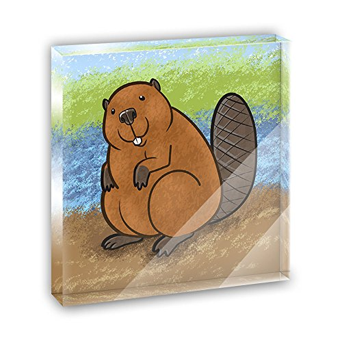 Beaver Acrylic Office Mini Desk Plaque Ornament Paperweight ()
