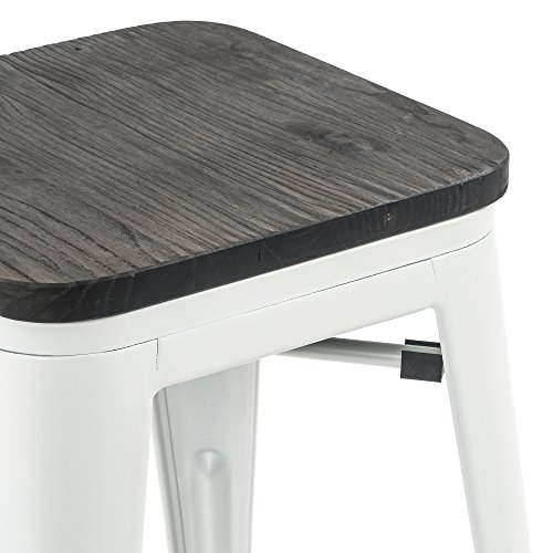 Buschman Store 43397 Matte White Wooden Seat 24 Inch Metal Bar Stools