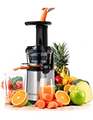 Secura Professional Masticating Juicer Wide Chute Cold Press Slow Juicer Extractor for Higher Nutrient and Vitamins(Stainless)