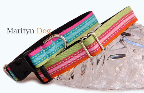 Designer dog collar : Turquoise, lime, pink pet collar or Pink, lime orange pet collar. Colorful & unique one of a kind handmade triple layers stripe ribbon dog collars for puppies, small dogs to large dogs. High quality designer made in the U.S.A. dog co