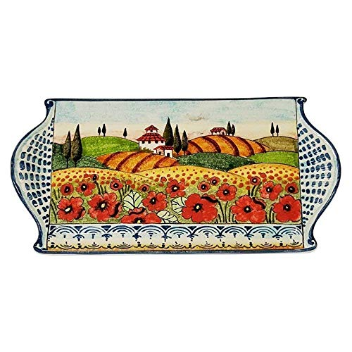 (CERAMICHE D'ARTE PARRINI - Italian Ceramic Art Cheese Tray Plate Appetizer Centerpieces Decorative Poppies Landscape Tuscan Pottery Hand Painted Made in ITALY )